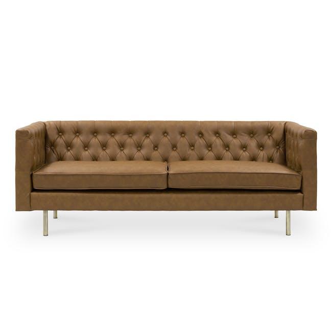 Cadencia 3 Seater Sofa - Tan (Faux Leather) - 0