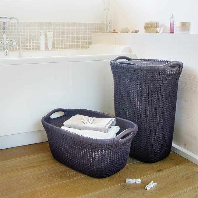 Knit Laundry Hamper with Lid 57L - Harvest Brown - 3