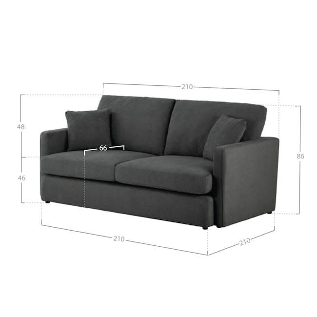 Ashley 3 Seater Sofa in Granite with Kiwami in Battleship Grey - 8