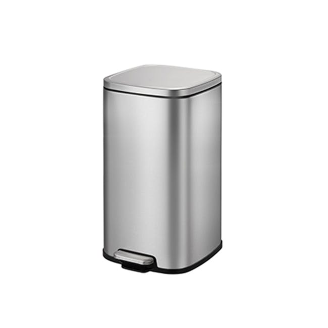 EKO Stella Stainless Steel Rectangle Step Bin With Soft Closing Lid - Brushed (3 Sizes) - 0