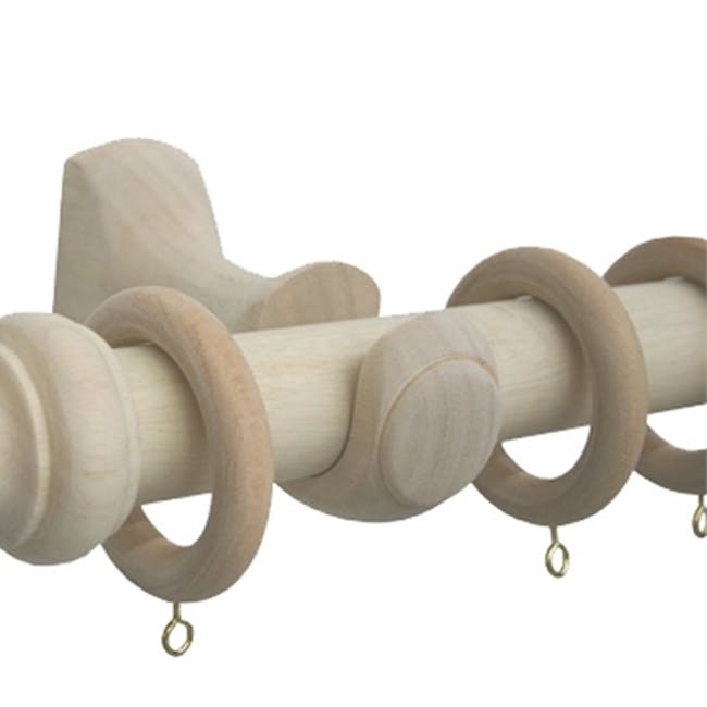 Wooden Curtain Rod with Wall Mount 1.5m - Natural - 3
