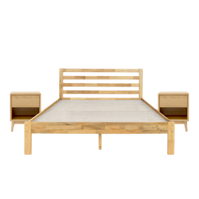 Kyoto Solid Wood Queen Bed with 2 Kyoto Single Drawer Bedside Tables - Oak - Image 1