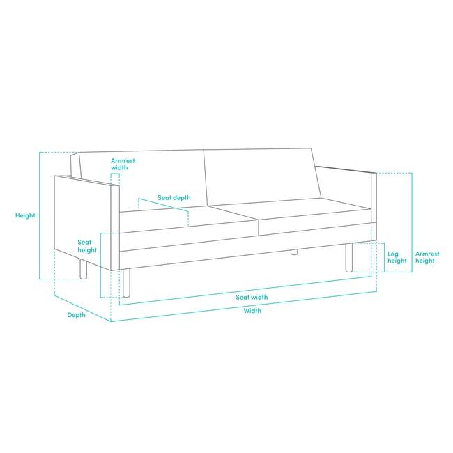 Ashley 3 Seater Sofa in Granite with Kiwami in Battleship Grey - 9
