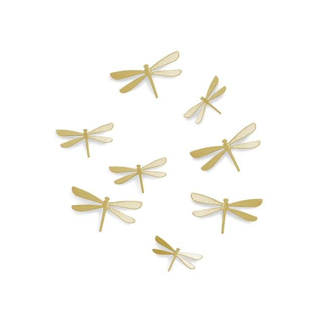 Dragonfly Wall Flutter Wall Decor - Brass (Set of 8) - 0