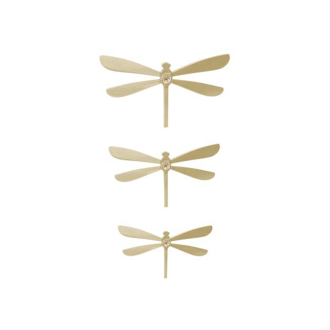 Dragonfly Wall Flutter Wall Decor - Brass (Set of 8) - 3