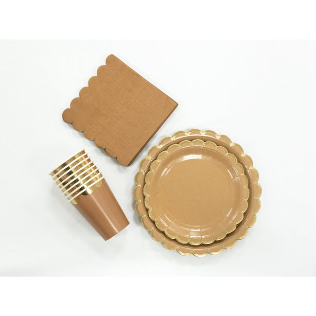 Scalloped Gold Kraft Paper Cup - Set of 8 - 2