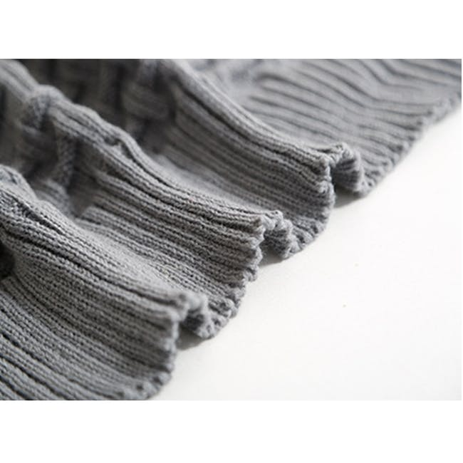 Camille Knitted Throw Blanket 110 x 175 cm - Grey - 3