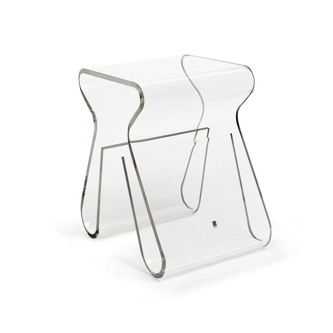 Magino Stool with Magazine Rack - Clear - 6