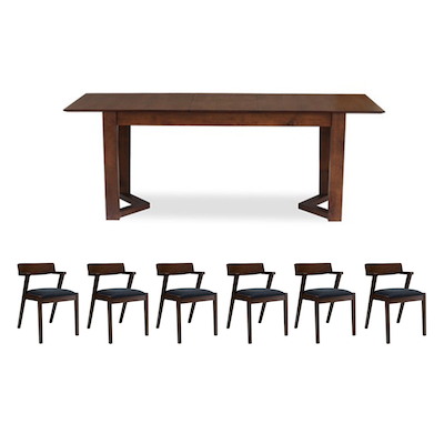 Meera 6 Seater Extendable Dining Room Set - Cocoa - Image 1