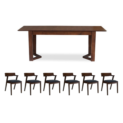Meera 6 Seater Extendable Dining Room Set - Cocoa