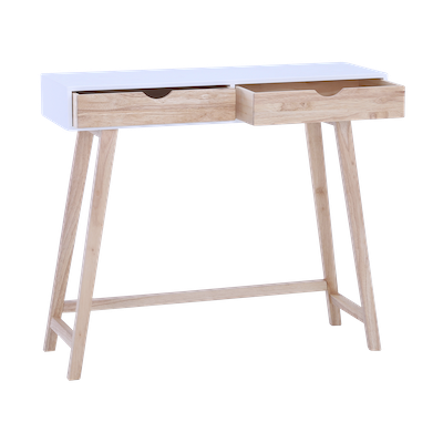 Magnus Console Table - White, Natural - Image 1