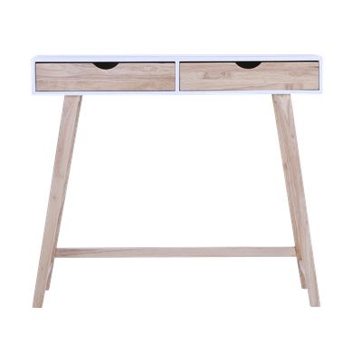 (As-is) Magnus Console Table - White, Natural - 1 - Image 1