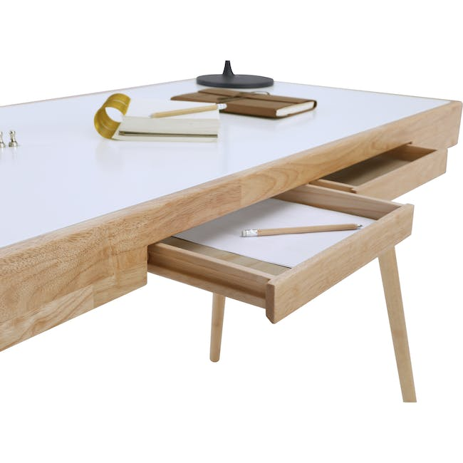 Reth Study Table - White, Natural - 7