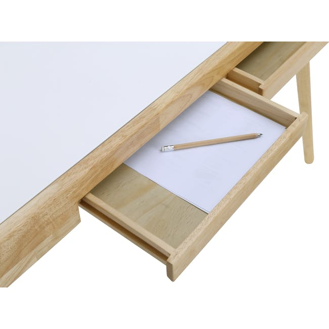 Reth Study Table - White, Natural - 8