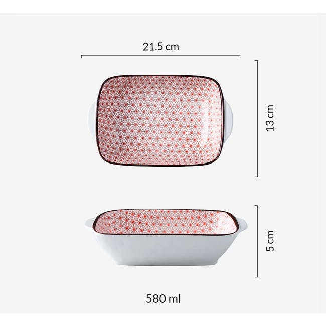 Table Matters Starry Red Baking Dish with Handles - 1