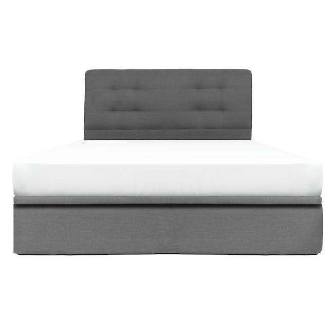 ESSENTIALS Queen Headboard Storage Bed - Grey (Fabric) - 0