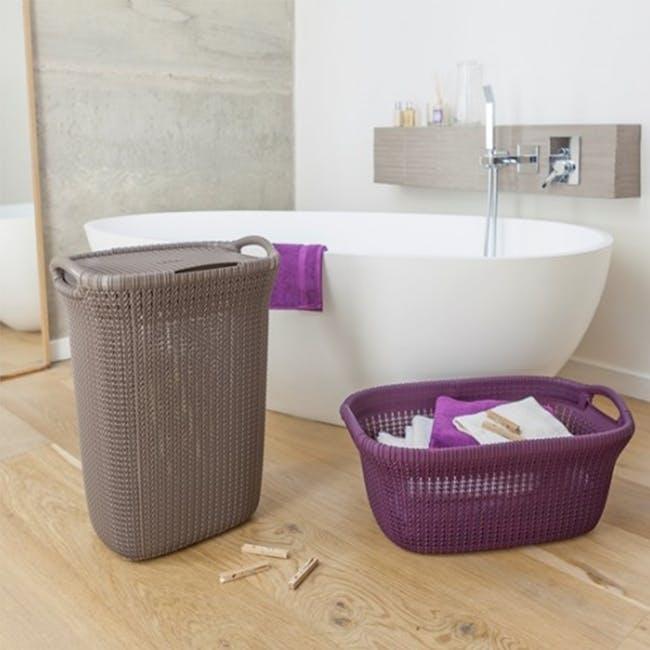 Knit Laundry Hamper with Lid 57L - TW Purple - 3