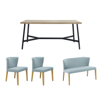 Brittany Dining Table 1.6m with Rhoda Bench 1m and 2 Rhoda Dining Chairs - Oak - Image 1
