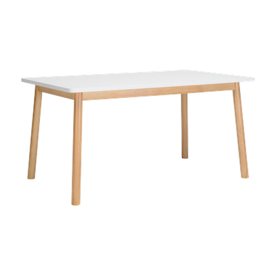 Kendall Dining Table 1.5m - Natural, White Lacquered - Image 1