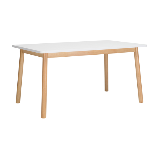 Malmo - Kendall Dining Table 1.5m - Natural, White Lacquered