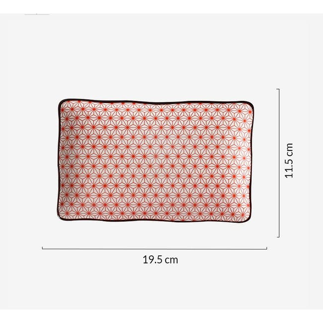 Table Matters Starry Red Rectangular Ripple Plate - 1