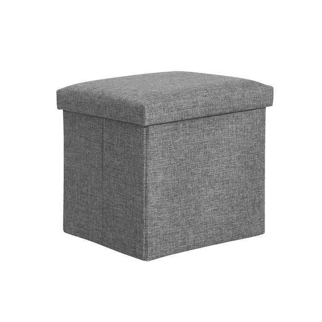 Domo Foldable Storage Cube Ottoman - Grey - 0