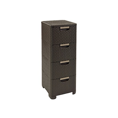Rattan Style Drawer 4 - Dark Brown