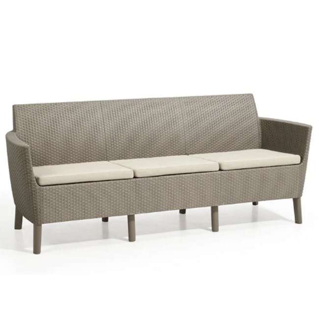Salemo 3-Seater Lounge Sofa Set - Cappuccino - 3