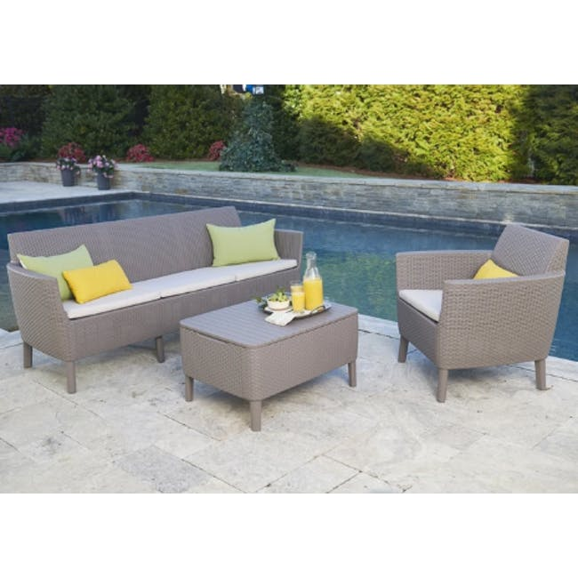 Salemo 3-Seater Lounge Sofa Set - Cappuccino - 2