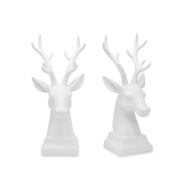 Deer Head Decor/Bookends  (Set of 2) - White - 0