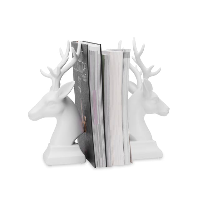 Deer Head Decor/Bookends  (Set of 2) - White - 1