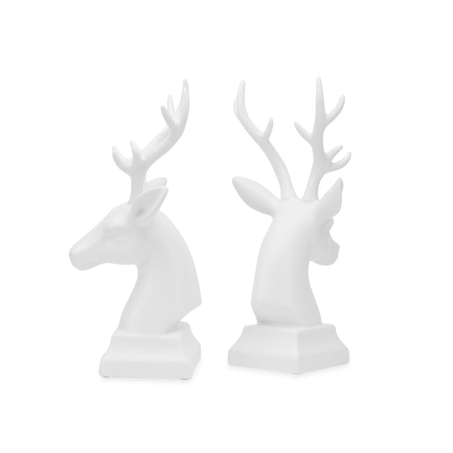 Deer Head Decor/Bookends  (Set of 2) - White - 2