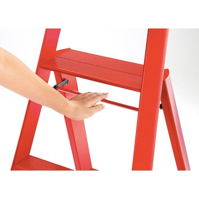 Hasegawa Lucano Aluminium 3 Step Ladder - Red - 1