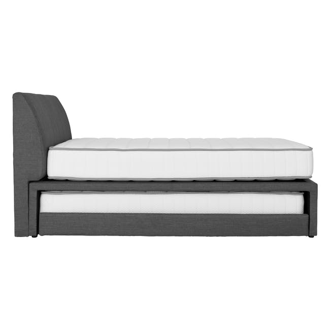 ESSENTIALS Super Single Trundle Bed - Smoke (Fabric) - 16