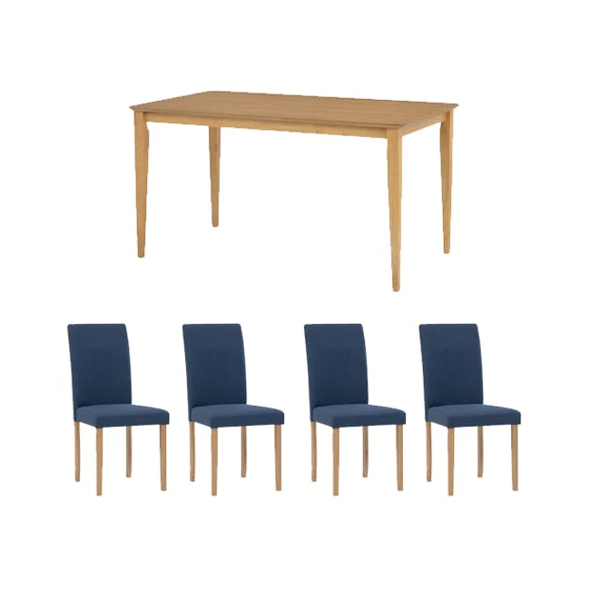 Charmant Dining Table 1.4m in Oak with 4 Dahlia Dining Chairs in Navy - 0