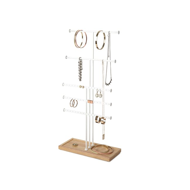 Trigem 5 Bar Jewelry Stand - White, Natural - 5