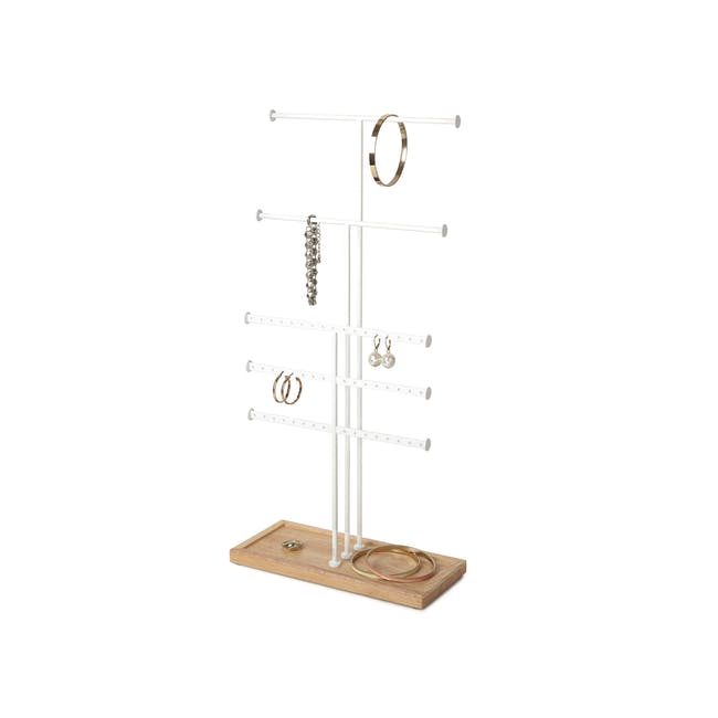 Trigem 5 Bar Jewelry Stand - White, Natural - 3