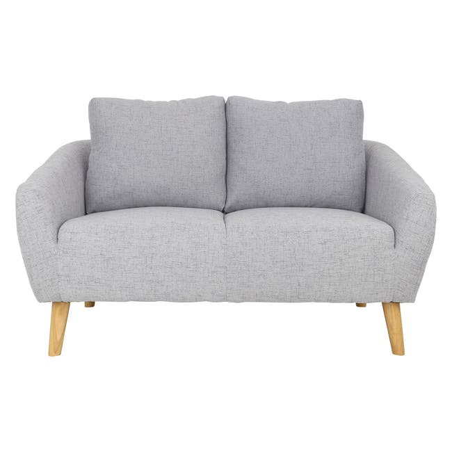 Hana 2 Seater Sofa with Hana Armchair - Light Grey - 14