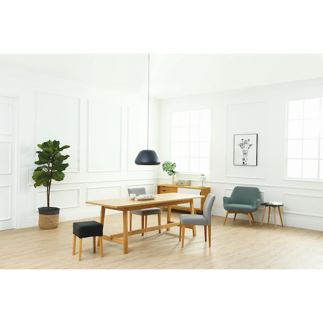 Larisa Dining Table 1.6m with 4 Ladee Chairs in Sand and Pale Silver - 5