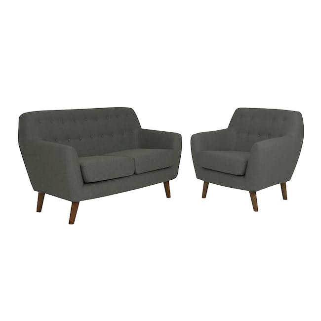 Emma 2 Seater Sofa with Emma Armchair - Raven - 0