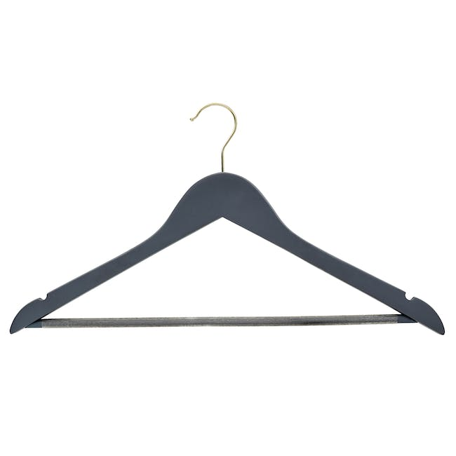 Hotel Style Wood Hangers with Gold Hooks (Set of 10) - 0