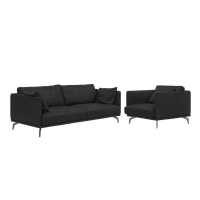 Como 3 Seater Sofa with Como 1.5 Seater Sofa - Black (Genuine Cowhide), Down Feathers - Image 1