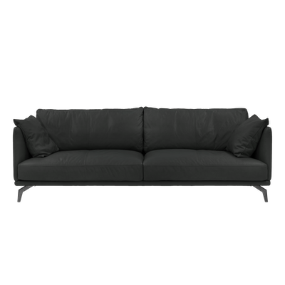 Como 3 Seater Sofa with Como 1.5 Seater Sofa - Black (Genuine Cowhide), Down Feathers - Image 2