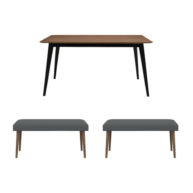 Ralph Dining Table 1.2m in Cocoa with 2 Miranda Benches in Onyx Grey - 0