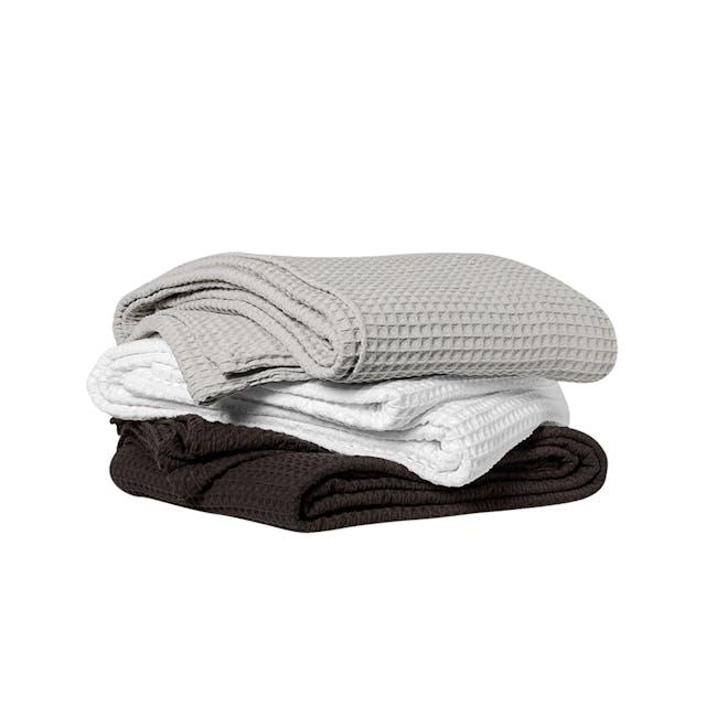 Canningvale Luxury Cotton Waffle Blanket - Piombo Grey (2 Sizes) - 1