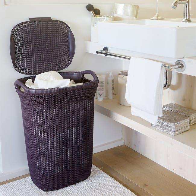 Knit Laundry Hamper with Lid 57L - TW Purple - 1