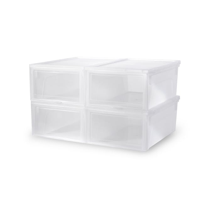 Ladies' Sliding Shoe Box - Clear (Pack of 4) - 0