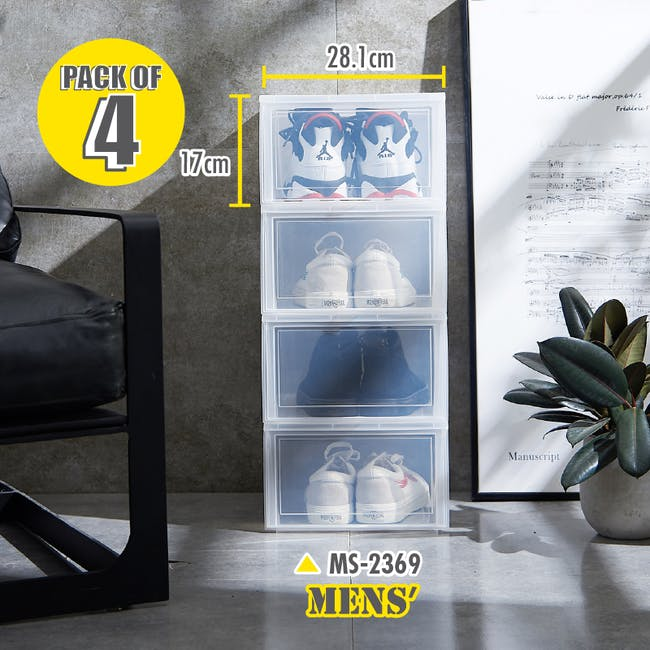 Ladies' Sliding Shoe Box - Clear (Pack of 4) - 3