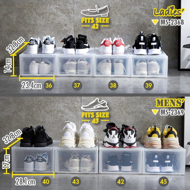 Ladies' Sliding Shoe Box - Clear (Pack of 4) - 9