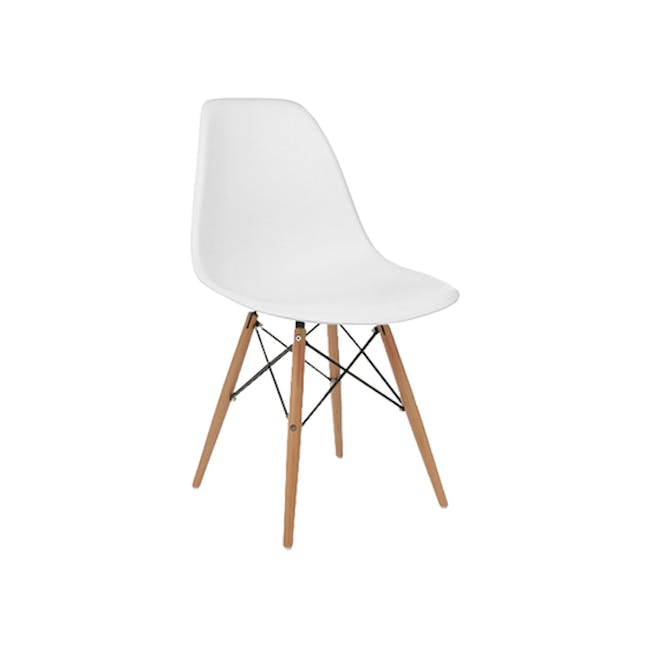 Colton Square Dining Table 0.8m with 2 DSW Chair Replica in Natural, White - 11